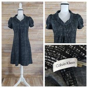 Calvin Klein 4 Abstract Checked Cowl Neck Dress